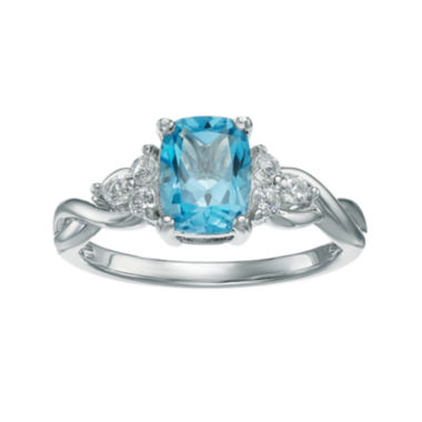 jcpenney.com | Genuine Blue and White Topaz 10K White Gold Cushion-Cut Twist Ring