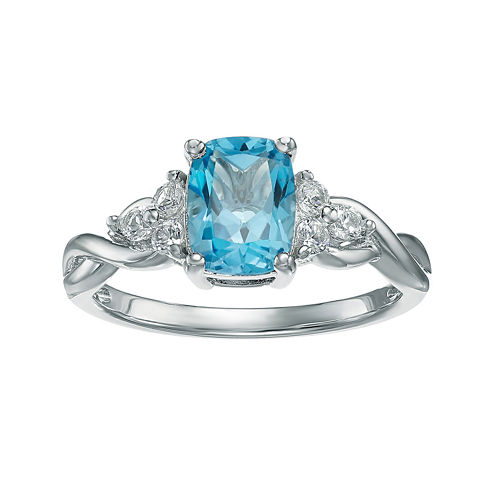 Genuine Blue and White Topaz 10K White Gold Cushion-Cut Twist Ring