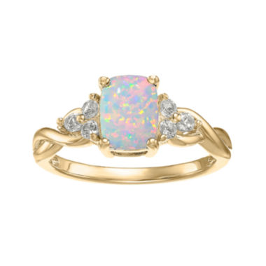 jcpenney.com | Lab-Created Opal and Genuine White Topaz 10K Yellow Gold Cushion-Cut Twist Ring