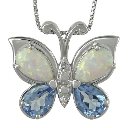 Genuine Blue Topaz, Lab-Created Opal and Diamond-Accent Butterfly Pendant Necklaced Accent Butterfly Pendant