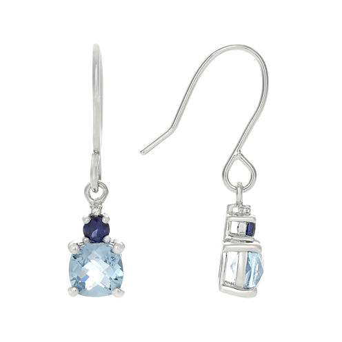 Genuine Blue Topaz and Lab-Created Blue Sapphire Drop Earrings