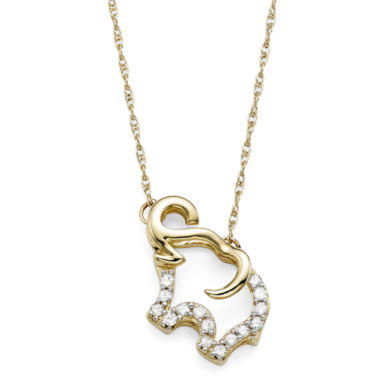 jcpenney.com | 1/10 CT. T.W. Diamond 10K Yellow Gold Elephant Pendant Necklace