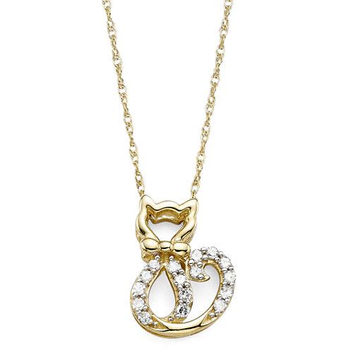 1/10 CT. T.W. Diamond 10K Yellow Gold Cat Pendant Necklace