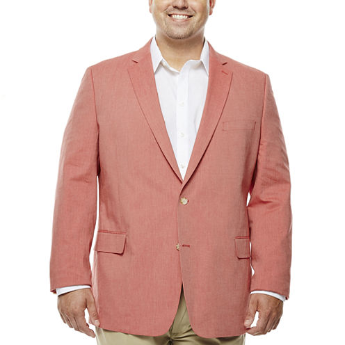 Stafford Red Cotton Sportcoat-Big and Tall