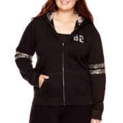 City Streets® Long-Sleeve Sequin Hoodie - Juniors Plus