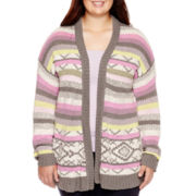 Arizona Long-Sleeve Patterned Cardigan - Juniors Plus