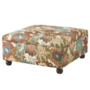 Elsa Floral Cocktail Square Ottoman