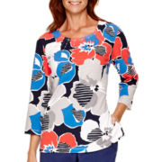Alfred Dunner® Cape Hatteras 3/4-Sleeve Floral Print Knit Top