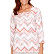 Alfred Dunner® Cape Hatteras 3/4-Sleeve Zigzag Print Top
