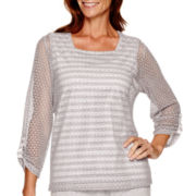 Alfred Dunner® Cape Hatteras 3/4-Sleeve Lace-Overlay Top