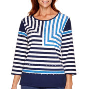 Alfred Dunner® Cape Hatteras 3/4-Sleeve Striped Top