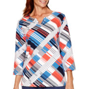 Alfred Dunner® Cape Hatteras 3/4-Sleeve Geometric Print Top