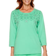 Alfred Dunner® Always In Style 3/4-Sleeve Cutout-Yoke Top
