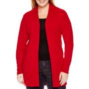 St. John's Bay® Long-Sleeve Shawl-Collar Cardigan - Plus