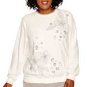 Alfred Dunner® Alpine Lodge Long-Sleeve Embroidered Fleece Top