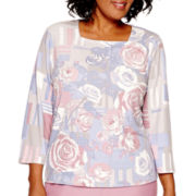 Alfred Dunner® Vienna 3/4-Sleeve Floral Print Sweater