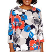 Alfred Dunner® Cape Hatteras 3/4-Sleeve Floral Print Knit Top - Plus