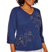 Alfred Dunner® Cape Hatteras 3/4-Sleeve Embroidered Top - Plus