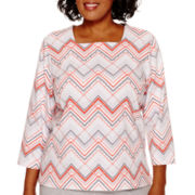 Alfred Dunner® Cape Hatteras 3/4-Sleeve Zigzag Print Top - Plus
