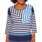 Alfred Dunner® Cape Hatteras 3/4-Sleeve Striped Top - Plus