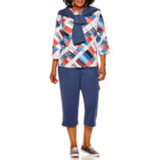 Alfred Dunner® Cape Hatteras Zip-Front Jacket, Geometric Print Top or French Terry Capris - Plus