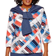 Alfred Dunner® Cape Hatteras 3/4-Sleeve Geometric Print Top - Plus