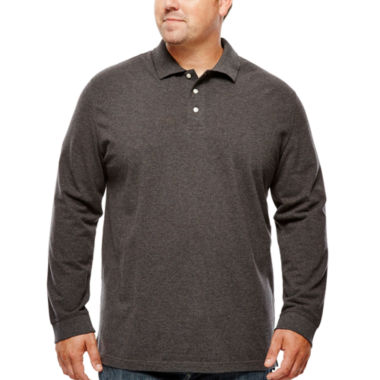 jcpenney.com | The Foundry Supply Co.™ Long-Sleeve Piqué Polo - Big & Tall