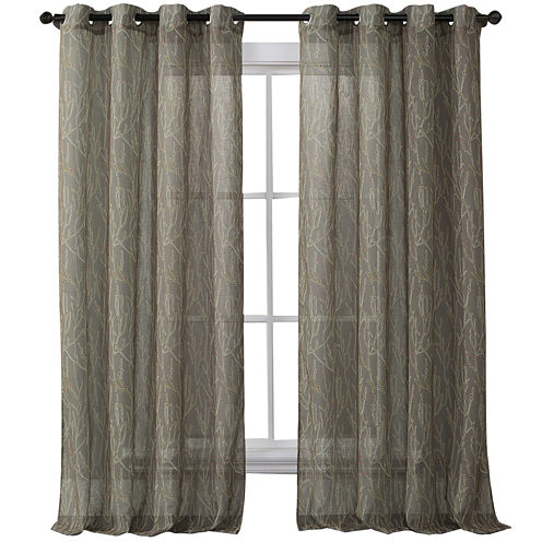 VCNY  Branches Print Grommet-Top Semi-Sheer Panel