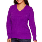 St. John's Bay® Long-Sleeve Cable V-Neck Sweater - Plus