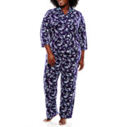 Earth Angels® 3/4-Sleeve Shirt and Pants Knit Pajama Set - Plus