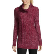 St. John's Bay® Long Sleeve Marled Tunic Sweater