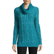 St. John's Bay® Long Sleeve Marled Tunic Sweater