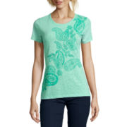 St. John's Bay® Short-Sleeve Paisley Burnout T-Shirt