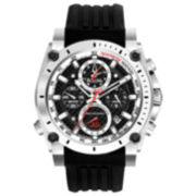 Bulova® Precisionist Mens Black Silicone Strap Chronograph Watch
