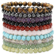 Set of 10 Multi-Gemstone Stretch Bead Bracelet