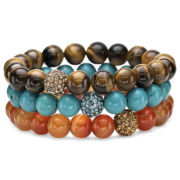 Set of 3 Multi-Gemstone Earthtone Stretch Bead Bracelets