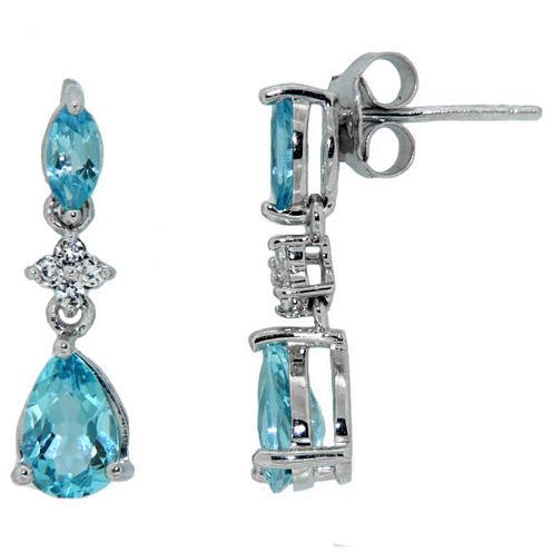 Sterling Silver Blue Topaz Linear Drop Earrings