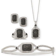 1/4 CT. T.W. White & Color-Enhanced Black Diamond Jewelry 4-Pc. Set