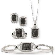 1/4 CT. T.W. White & Color-Enhanced Black Diamond Jewelry 4-Pc. Set