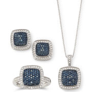 1/4 CT. T.W. White & Color-Enhanced Blue Diamond Jewelry 3-Pc. Set