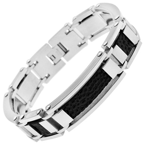 Stainless Steel & Black Faux-Leather Mens Bracelet