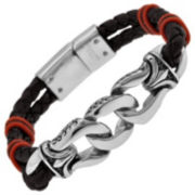Stainless Steel Black Leather & Red Bead Mens Bracelet