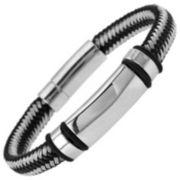 Stainless Steel & Black/White Nylon Braided Bracelet
