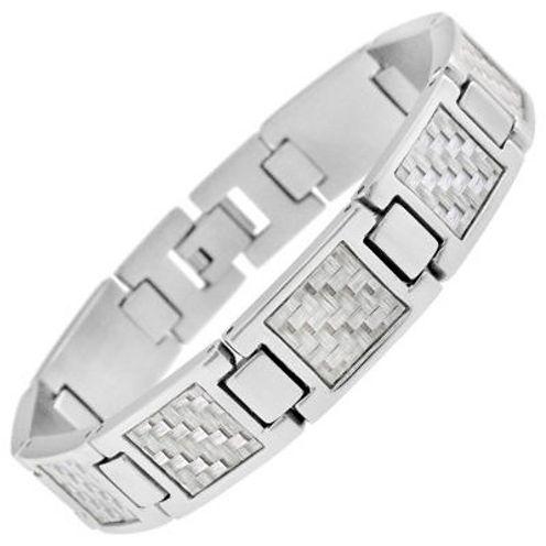 Mens Stainless Steel and Gray Carbon Fiber Link Bracelet
