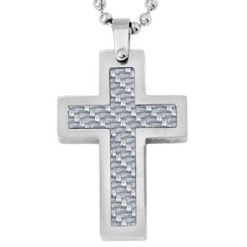 Mens Gray Carbon Fiber & Stainless Steel Cross Pendant Necklace