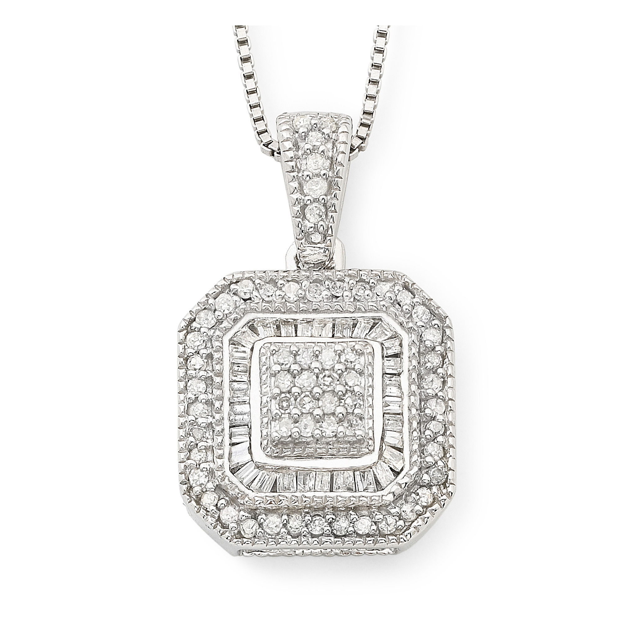 1/3 CT. T.W. Diamond Vintage Frame Pendant Necklace plus size,  plus size fashion plus size appare