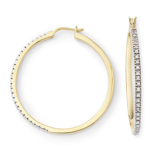 1/4 CT. T.W. Diamond 14K Gold-Plated Hoop Earrings