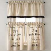 Park B. Smith Brasserie Rod-Pocket Kitchen Curtains