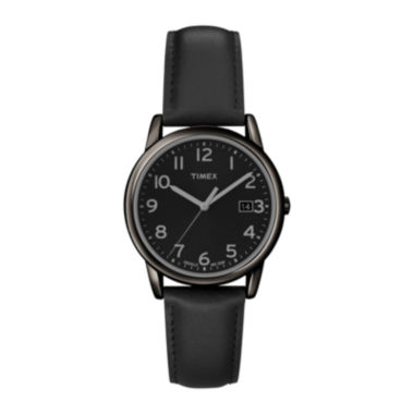jcpenney.com | Timex Mens Round Dial Black Leather Strap Watch
