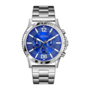 Caravelle New York® Mens Blue Dial with Silver-Tone Bracelet Chronograph Watch